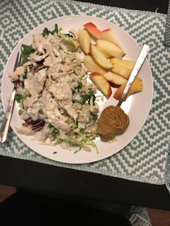 Kale salad with chicken, apple, PB: 31 grams protein, and Kale salad with chicken, cottage cheese and watermelon: 30 grams protein