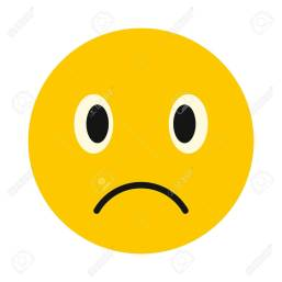 Sad face icon, flat style